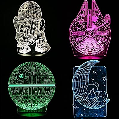 Star wars GIFTS LED 3D Lamp Illusion Night Light ,star wars decor,four Pattern and 7 Color Change Decor Lamp - Perfect Gifts for Kids CHILDREN Men Women Teens,and Star Wars Fans,Bedroom Decoration lig