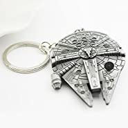 Star Wars Millennium Falcon Replica Keychain Metal Pendant Keyring - The Spacecraft Warships Model by SW