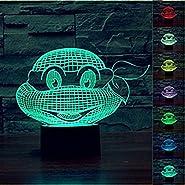 SUPERNIUDB Romantic 3D Teenage Mutant Ninja Turtles Night Light 7 Color Change LED Desk Table Lamp
