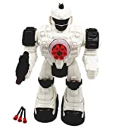 Techege Toys Steel Wolf Remote Controlled Robot, Shoots Rubber Missiles Awesome Sounds, Fun Lights Kids RC Robot Battery Powered Walking Futuristic Soldier