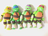 "Teenage Mutant Ninja Turtles 10"" 4 Piece Plush Set Michelangelo, Raphael, Leonardo and Donatello New"