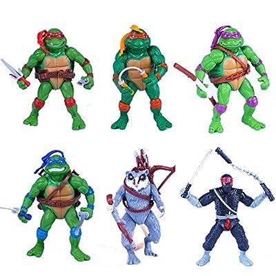 Teenage Mutant Ninja Turtles Anime Moving Action Figures Toy Set, 4.7-Inch, 12cm, Set of 6pc (Without original box)