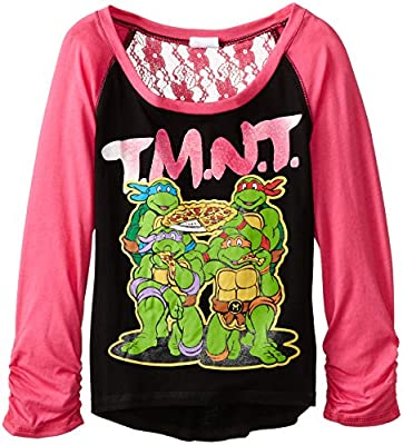 Teenage Mutant Ninja Turtles Girls' TMNT Black Glitter Baseball T-Shirt