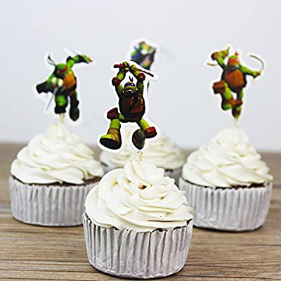 Teenage Mutant Ninja Turtles Themed Cupcake Toppers Party Pack for 24 Cupcakes