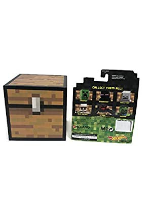 Thinkkeeg Minecraft Chest Bank Bundle with ONE Mysterious Minecraft Hot Wheels Character Car --- Minecraft Piggy Bank