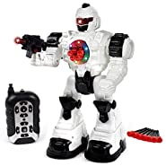 Toysery Remote Control Robot Police Toy for Kids Boys Girls with Flashing Lights and Robot Sounds
