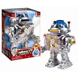 Westminster Atom 7 Robot - Walks, Talks, Shoots Discs, Light-Up Spinner